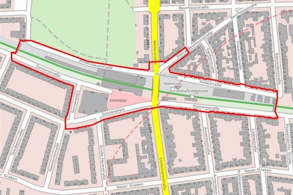 Die Böller-Verbotszone im Umfeld der Möllerbrücke.