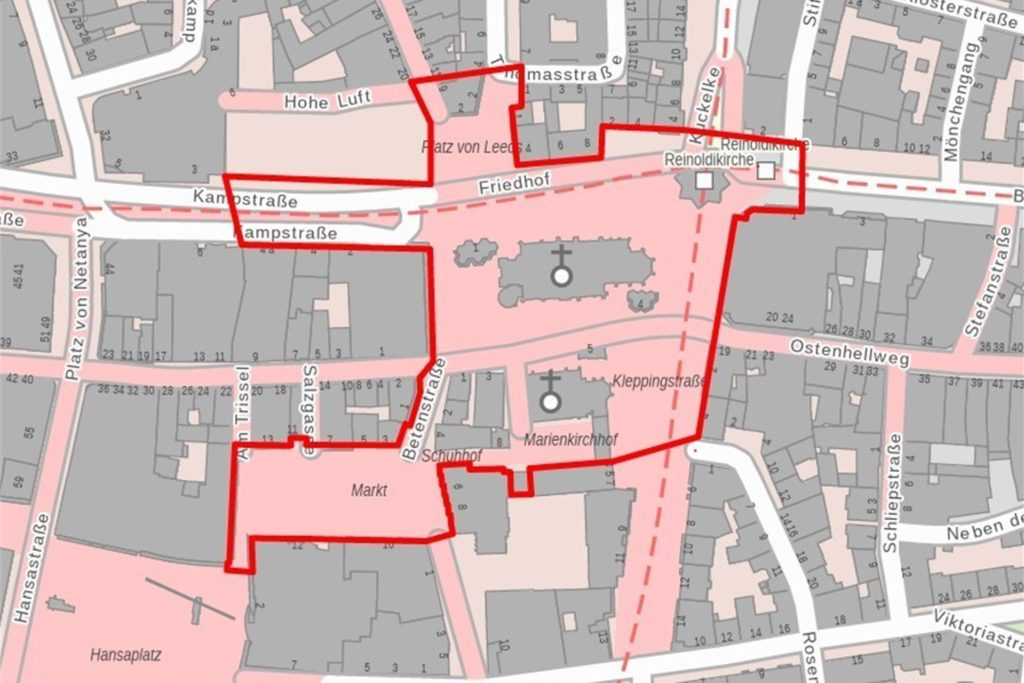 Die Böller-Verbotszone im Umfeld der St. Reinoldi- und St. Marienkirche.