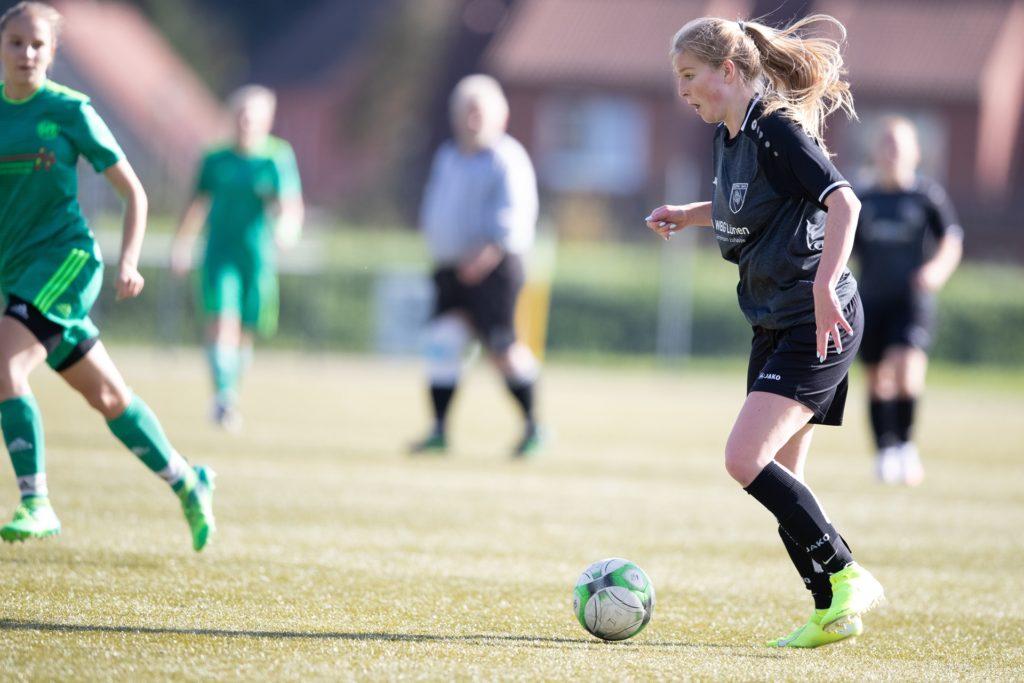 Alina Nörenberg versenkte eine Ecke für den PSV Bork direkt im gegnerischen Tor.