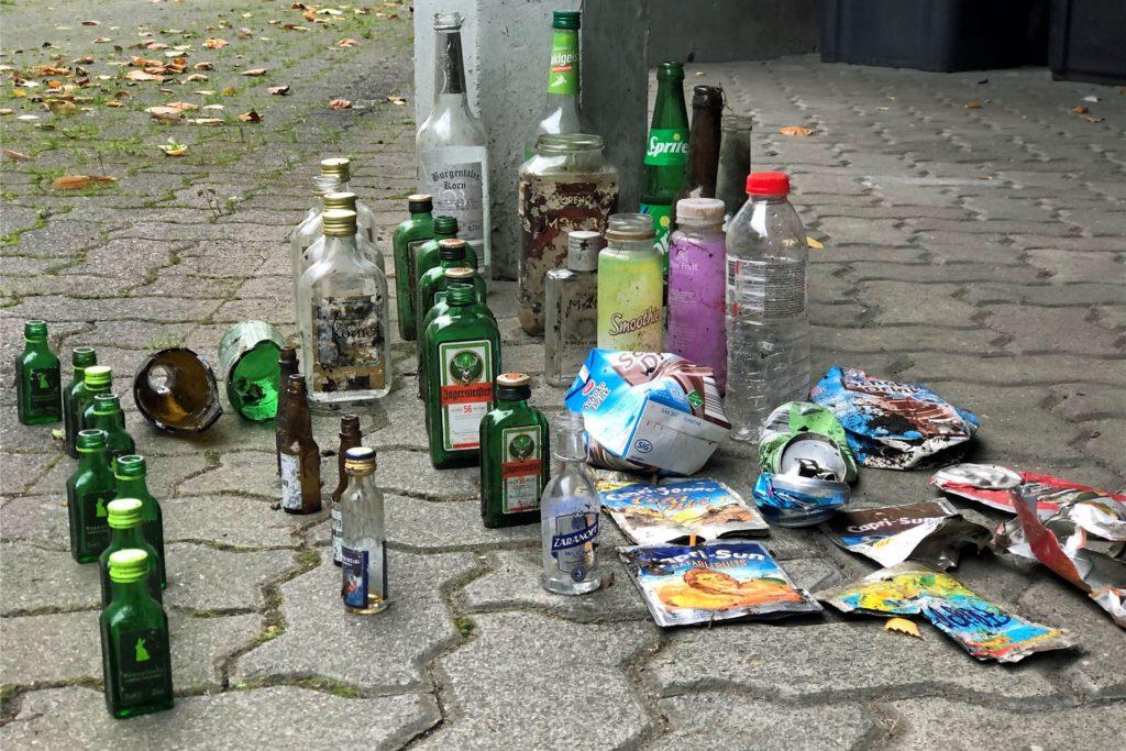 Erschreckendes Ergebnis. Die Batterie an leeren Flaschen und anderen Getränke-Verpackungen fand sich auf einem nicht einmal 2 Kilometer langen Spaziergang.