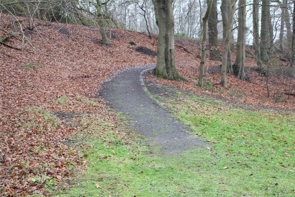 Ein Weg ins Nichts. Dieser Weg führt vom Bahnhof Bövinghausen in den Park. Er ist ungepflegt und endet in einer matschigen Wiese.