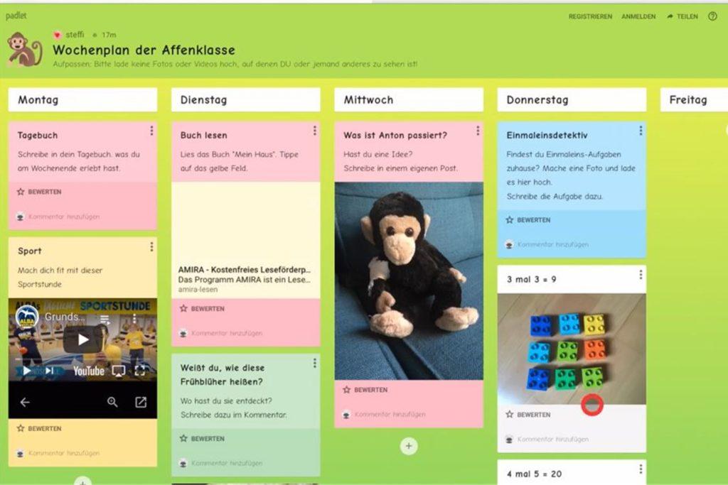 Die Kommunikationsplattform Padlet soll Schülern beim Distanzunterricht helfen.