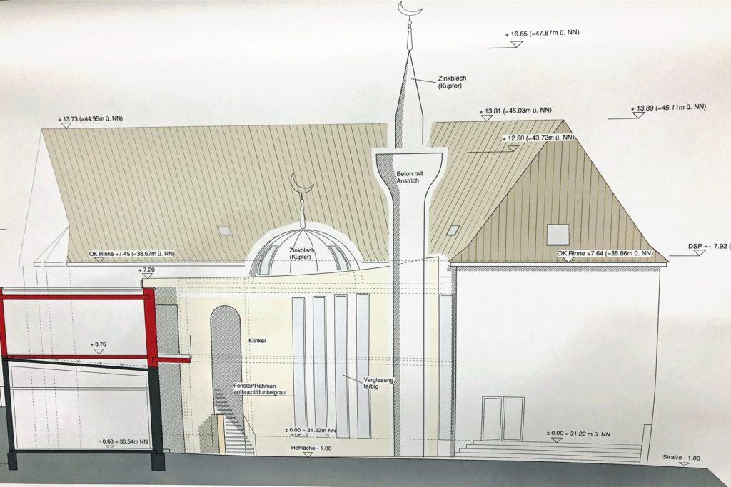 Der Moscheeumbau läuft nach Plan: Abgerissen wurde der mittige Bereich, um Platz für den Vorbau zu schaffen.