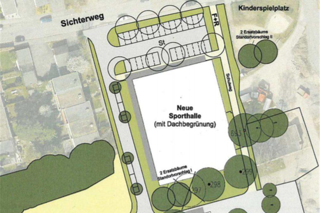 Hier, südlich des Sichterwegs, wird die neue Halle gebaut.