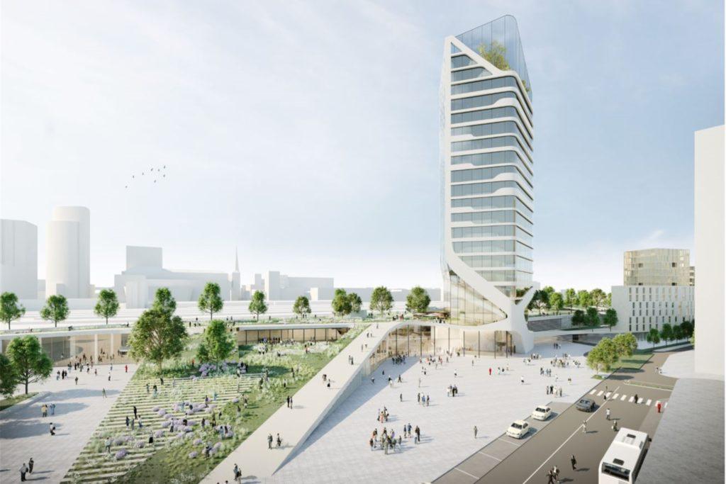 Neben einer grünen Spange für die Nordseite des Hauptbahnhofs sieht der neueste Entwurf des Büros Raumwerk auch ein Hochhaus vor.