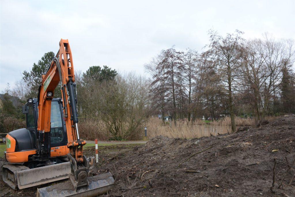 Mit den ersten Baggerarbeiten am Teich des St. Elisabeth-Krankenhaus wurde bereits begonnen.