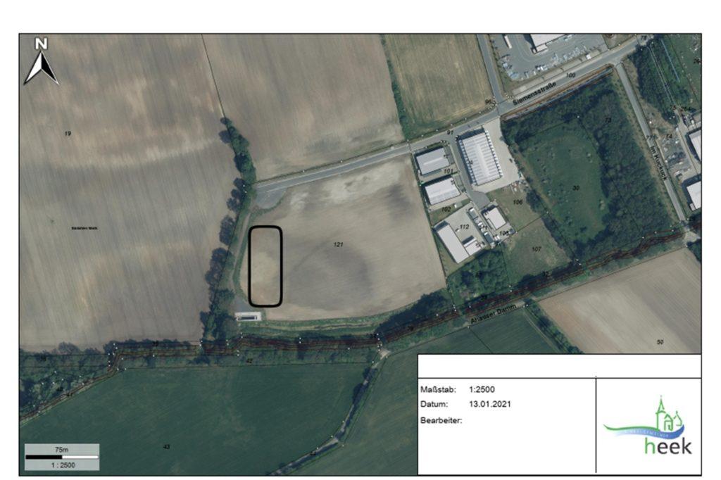 Im eingezeichneten Bereich im äußersten Bereich des Gewerbegebiet Heek -West soll die KVA laut Planung gebaut werden.
