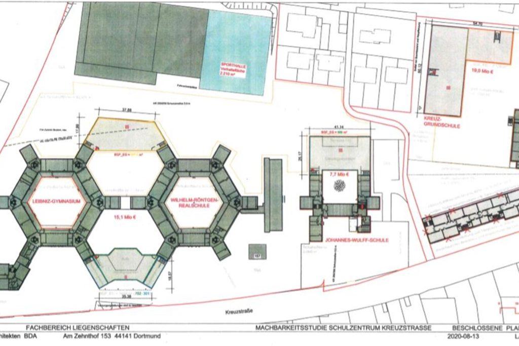 Im Vorentwurf ist zu erkennen, wie nahe die grau markierten geplanten Neubauten der Kreuz-Grundschule (oben rechts) und der Nachbarschulen sowie eine dritte Sporthalle (türkis) den Wohnhäusern an der Blankensteiner Straße und Metzerstraße (oben) kommen.
