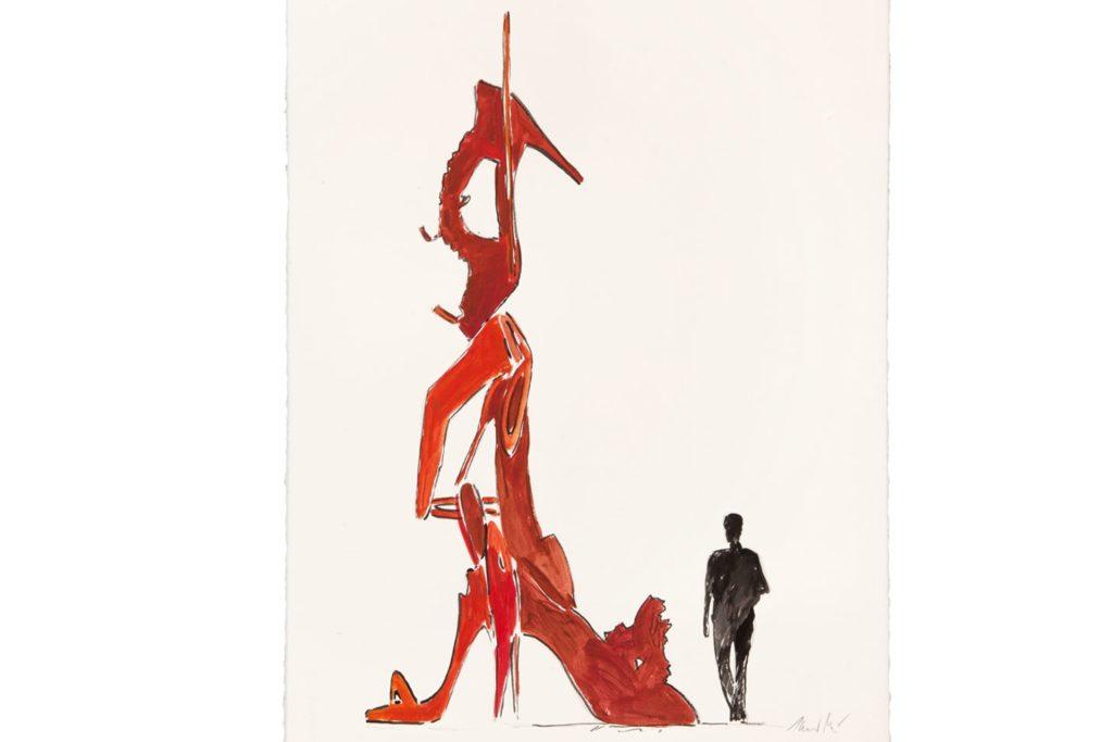 """""""Studie Stiletto"""" heißt dieser Entwurf für die sechs Meter hohe Plastik."""