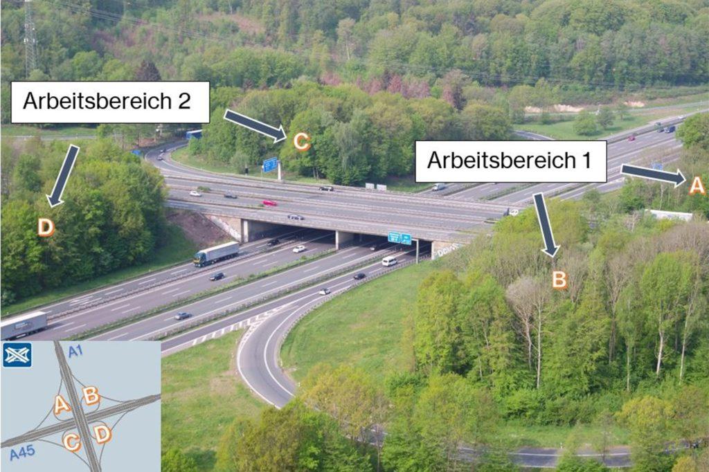 Hier sind die einzelnen Wäldchen zu sehen, die für den Autobahnausbau gerodet werden.