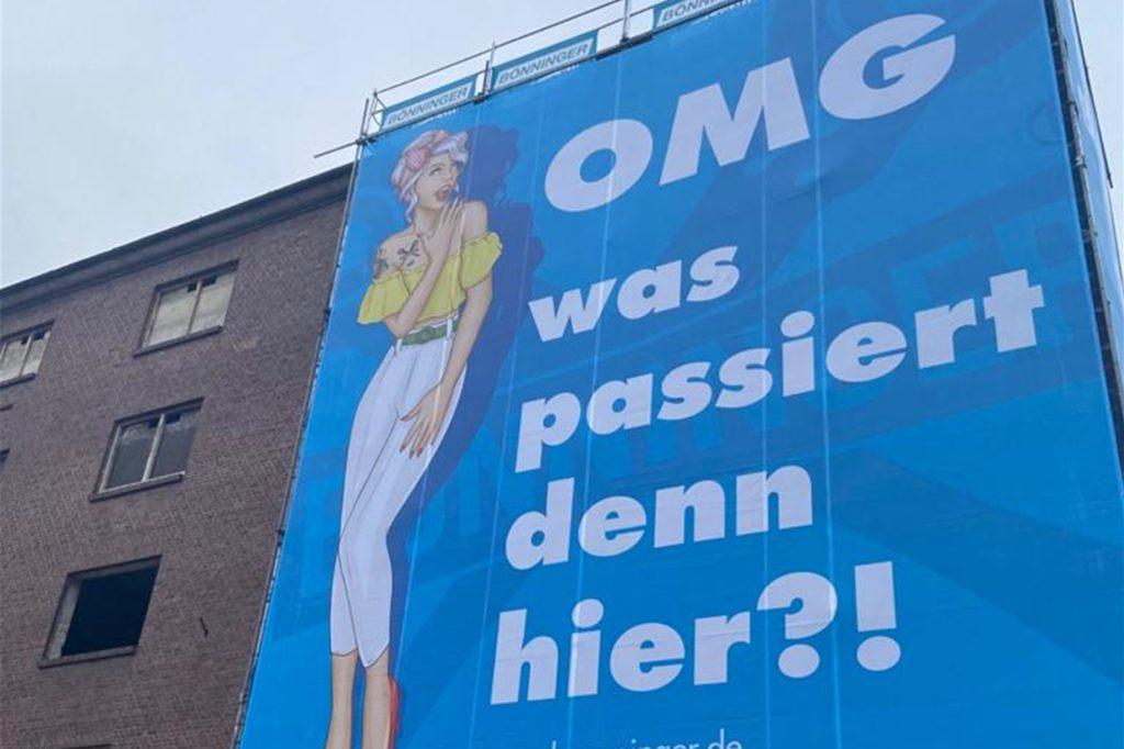 Werbung muss auffällig sein - nach diesem Prinzip handelt die Neuasselner Gerüstbaufirma Bönninger.