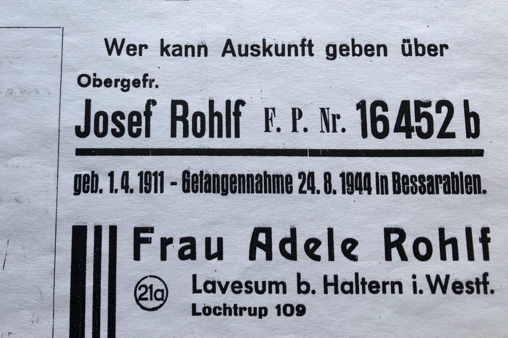 So suchte die Familie Rohlf nach ihrem vermissten Angehörigen.