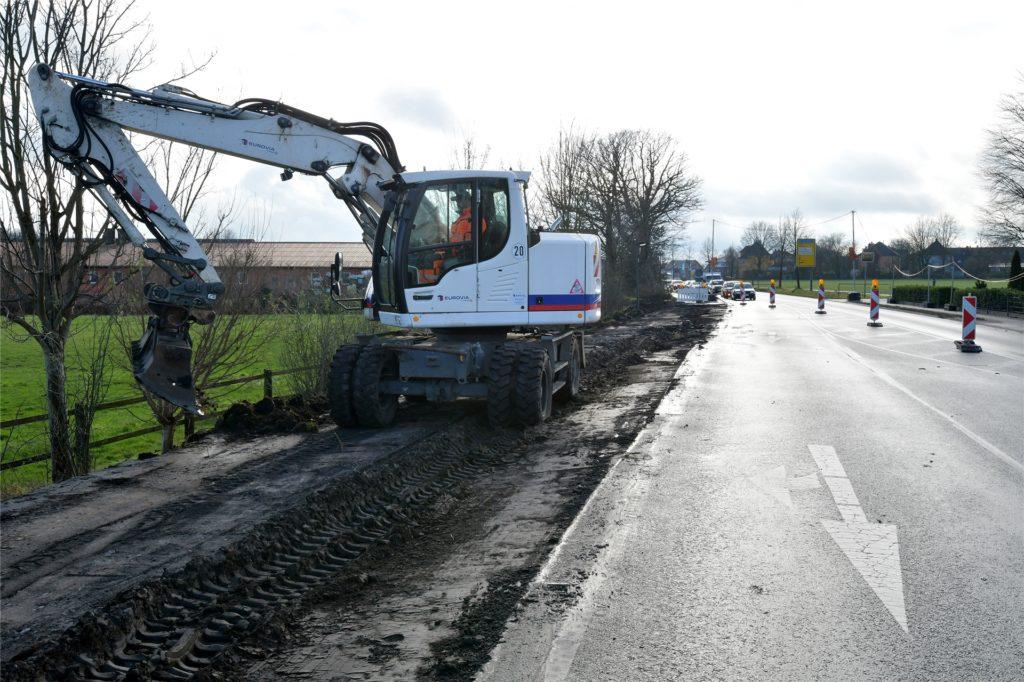 Die Arbeiten an der Kreisstraße/Gutenbergstraße in Bork laufen seit Montag (25. Januar).