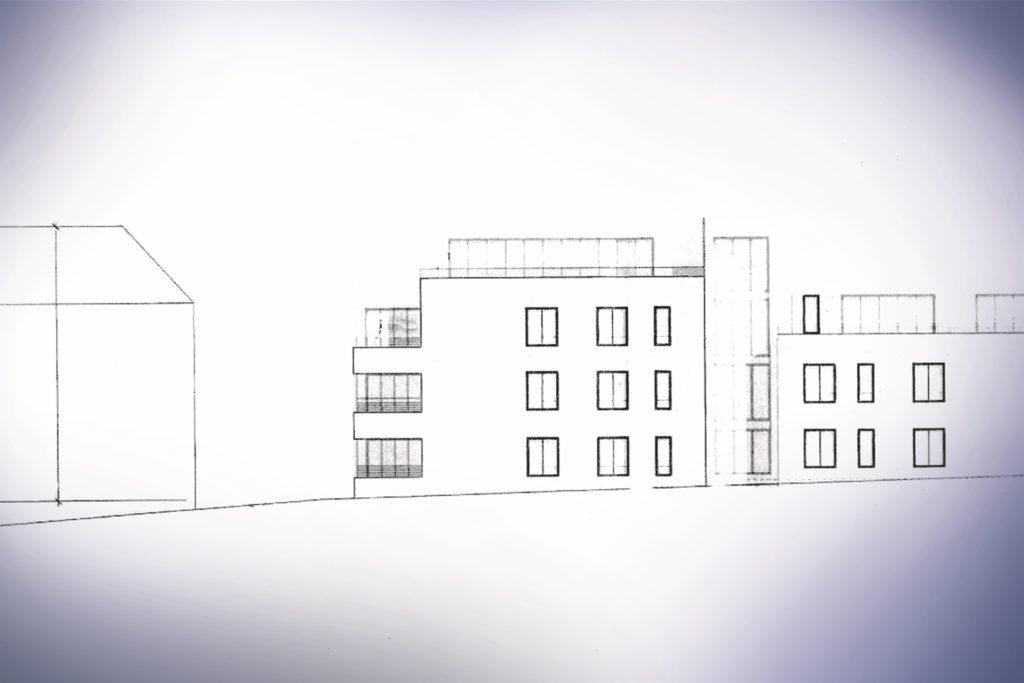 Links steht ein älteres Haus an der Kneebuschstraße 14, daneben könnte der neue Baukörper entstehen.