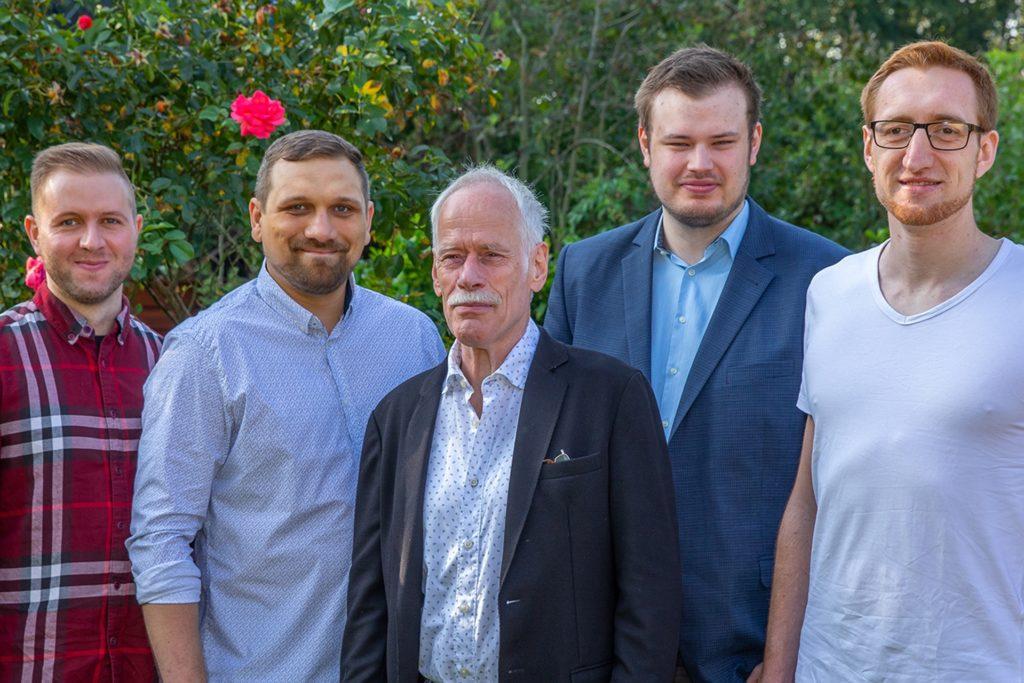 Aus sechs Mitarbeitern besteht das KreInn-Team momentan (v.l.): Silas Mahler, Christopher Keibel, Norbert Burzlaff, Johannes Teklote und Igor Besel