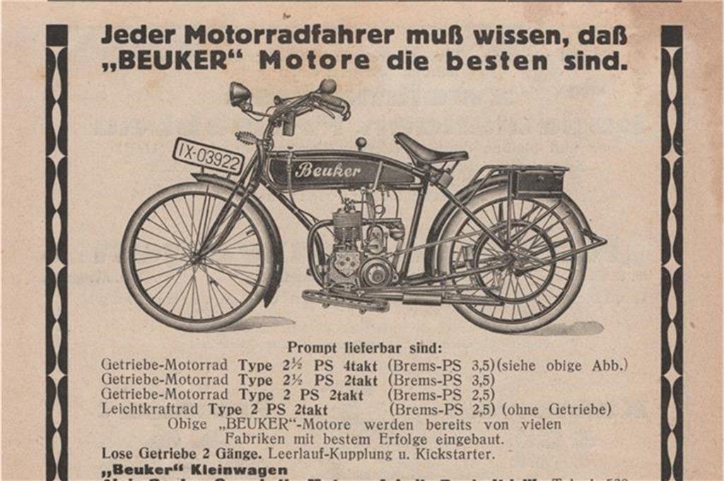 1924 liefert Alois Beuker mehrere Modelle mit unterschiedlichen Motoren aus. Doch in diesem Jahr muss er Konkurs anmelden.