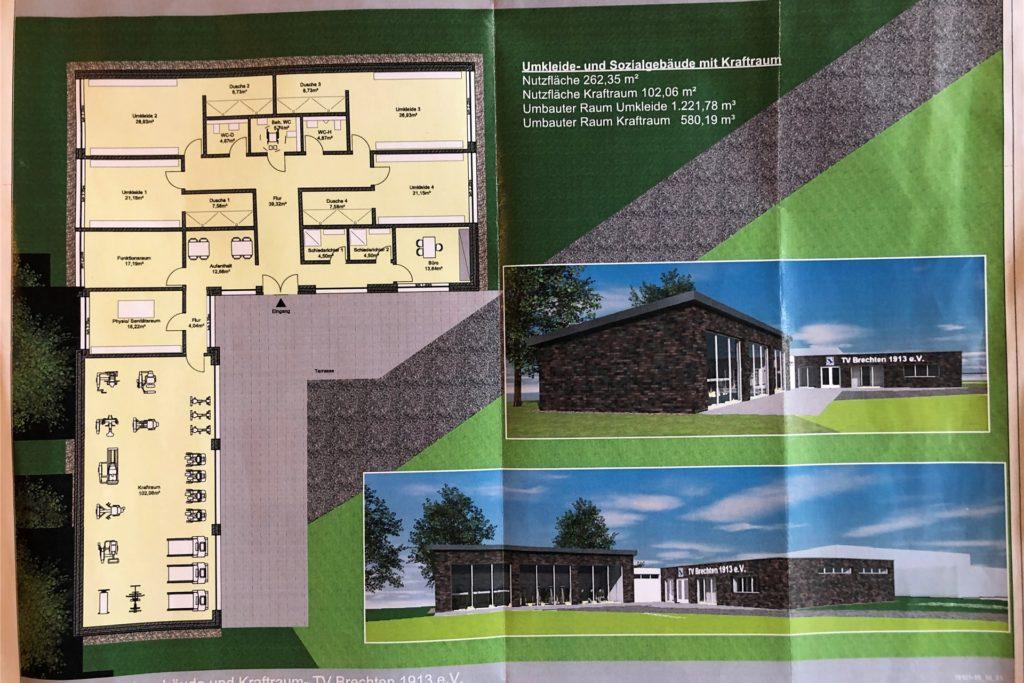 So wie auf diesem Plan der Architekten Steinhoff soll das neue Umkleidegebäude des TV Brechten einmal aussehen
