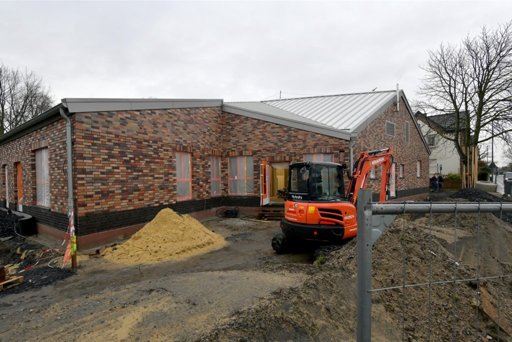 Die Baustelle für die Kita Kinderhaus am Alten Kirchweg in Alstedde, hier sollen die Schimmelprobleme in der kommenden Woche beseitigt werden.