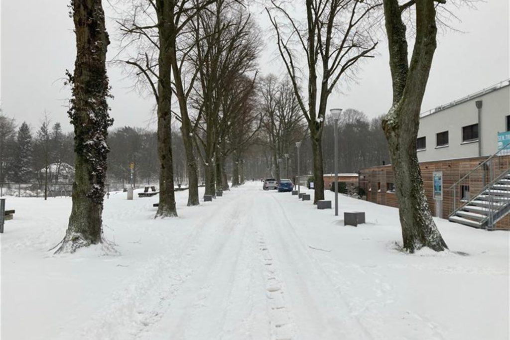 Die Stadtmühlenbucht im Schnee.