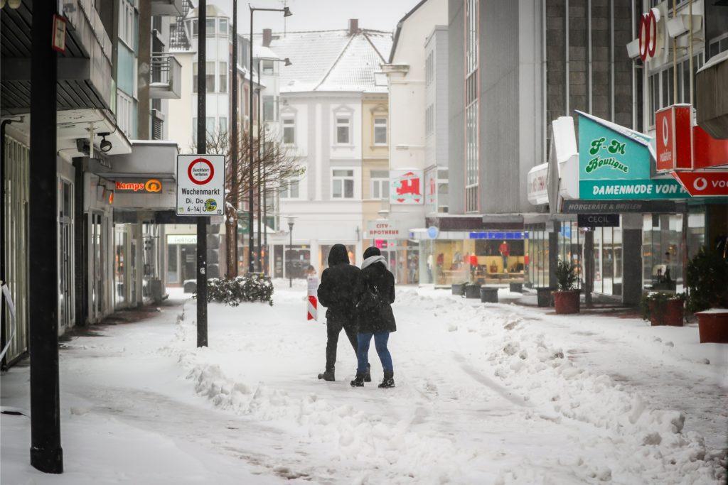 Wintereinbruch in Castrop-Rauxel. Nur wenige Menschen waren unterwegs.