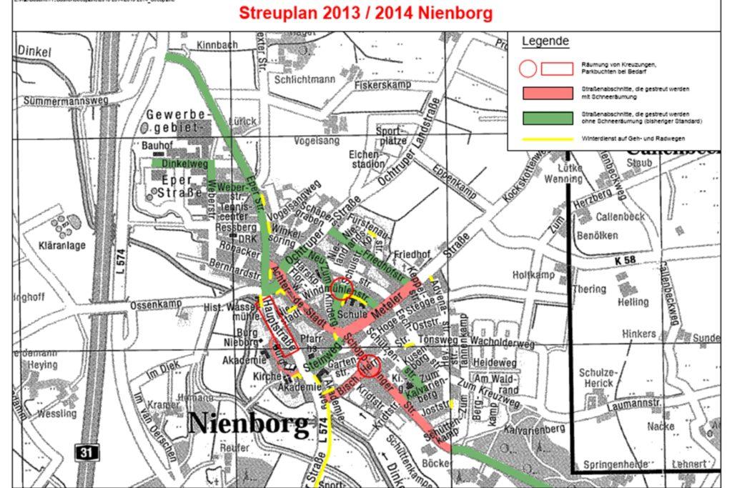 Der Streuplan für den Ortsteil Nieborg.