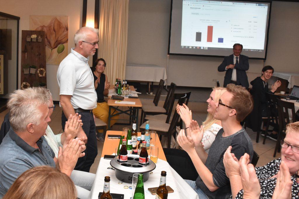 Applaus für den Wahlsieger: Am Abend des 13. September war die Bürgermeisterwahl in Südlohn direkt entschieden. Der 54-jährige Werner Stödtke konnte es zunächst gar nicht fassen.
