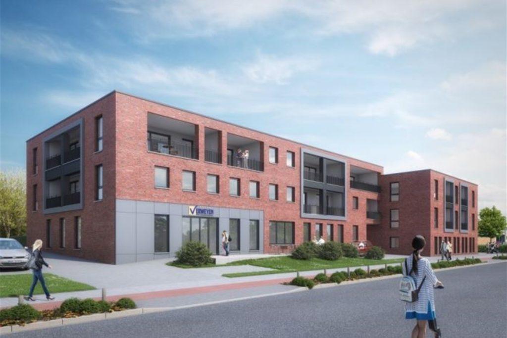 So soll das neue Gebäude entlang der Fuistingstraße aussehen. Erst wenn der Rohbau abgeschlossen ist, soll die Erweiterung des Aldi-Marktes beginnen.