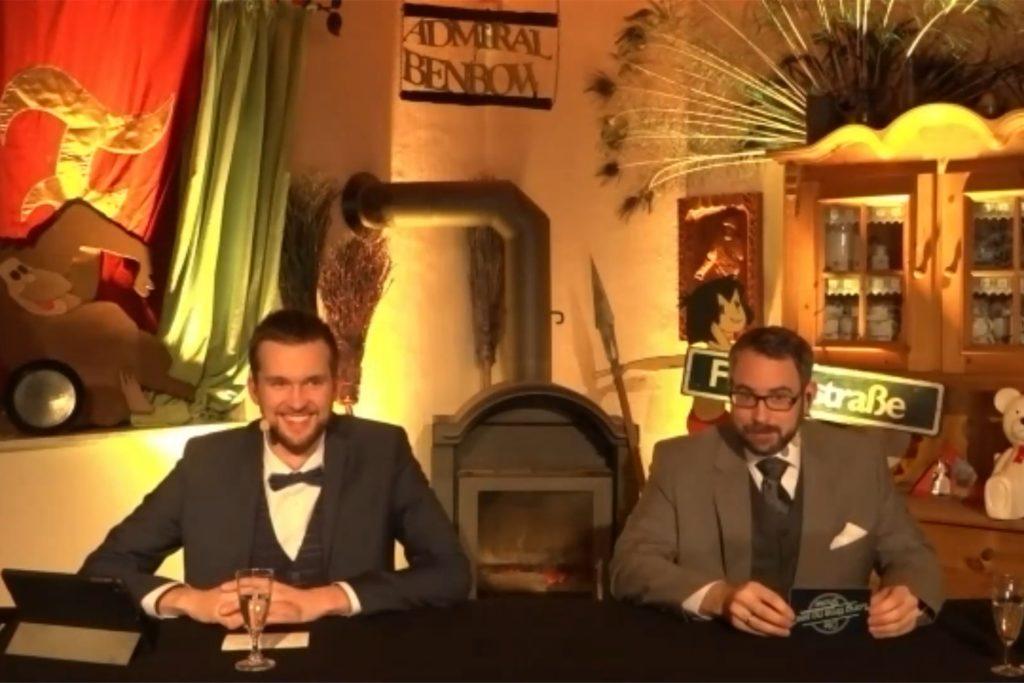 Marius Przybilla (l.) und Holger Schulte führten durch das Abendprogramm des Online-Saisonstarts.