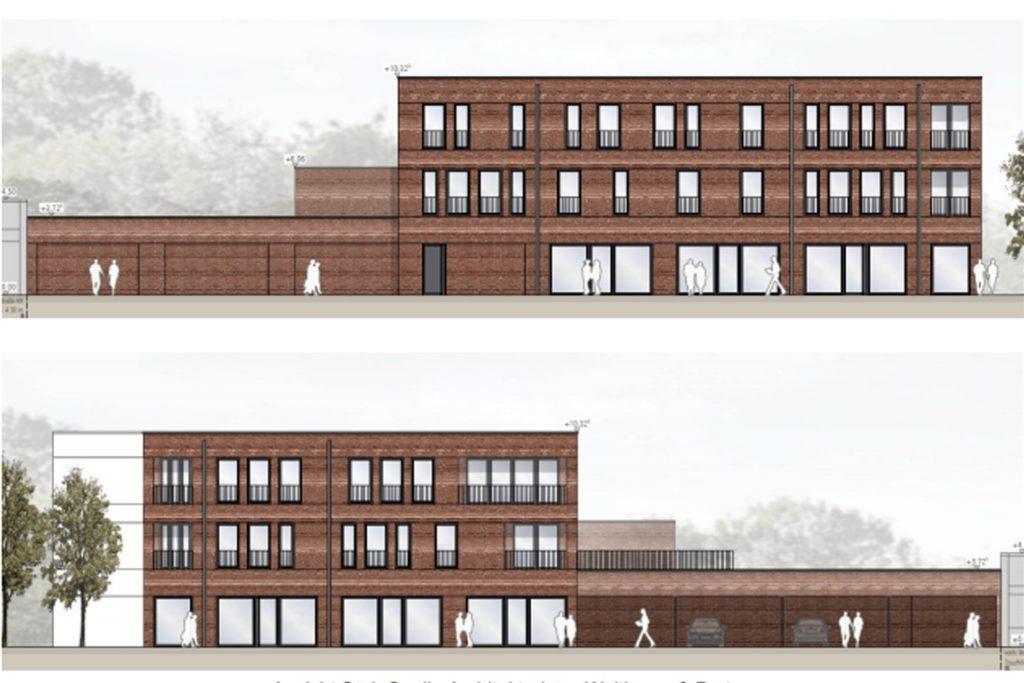 So soll das neue Gebäude von der Wüllener Straße (oben) und der Schloßstraße aus aussehen.