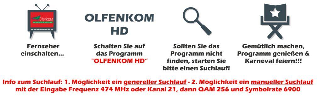 Kunden von Olfenkom können das Programm direkt über den Fernseher schauen. Wie das geht, zeigt die Grafik des Kitt.