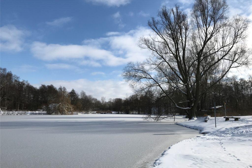 Die Eisfläche auf dem Berkelsee sieht zwar tragfähig aus, aufgrund der unterirdischen Strömungen kann sie aber sehr unterschiedlich dick sein.
