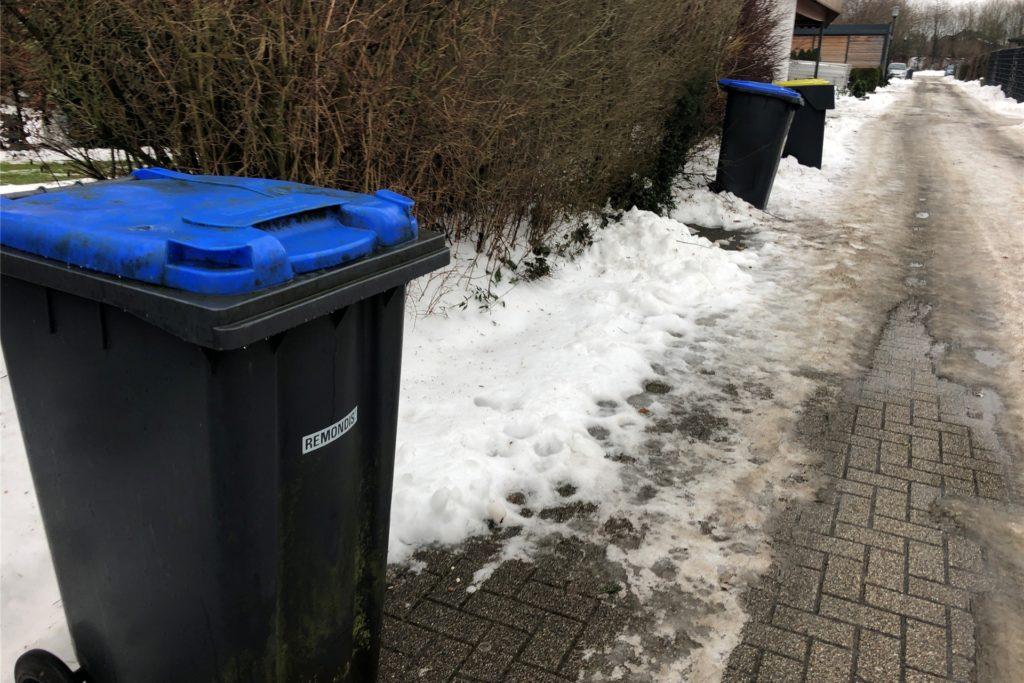 Einige Selmer haben ihre blauen Papiertonnen am Straßenrand abgestellt, wohl in der Hoffnung, dass sie zwischenzeitlich geleert würden. Was bisher nicht geschehen ist.