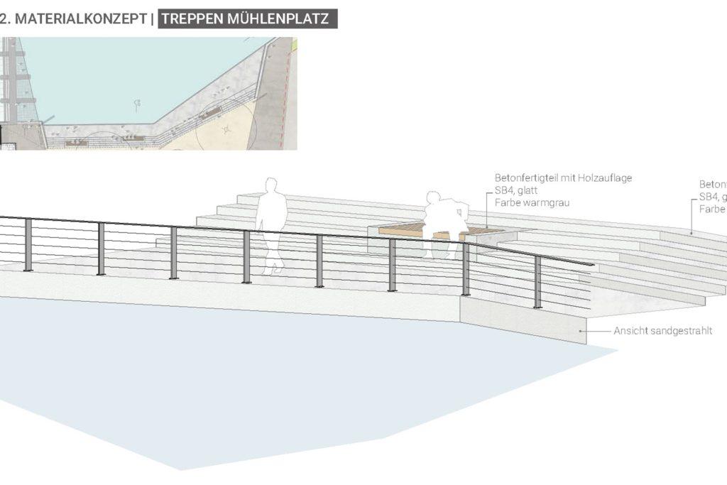 Transparente Geländer und klare Formensprache prägen den Gestaltungsentwurf für die Freitreppen-Anlage.