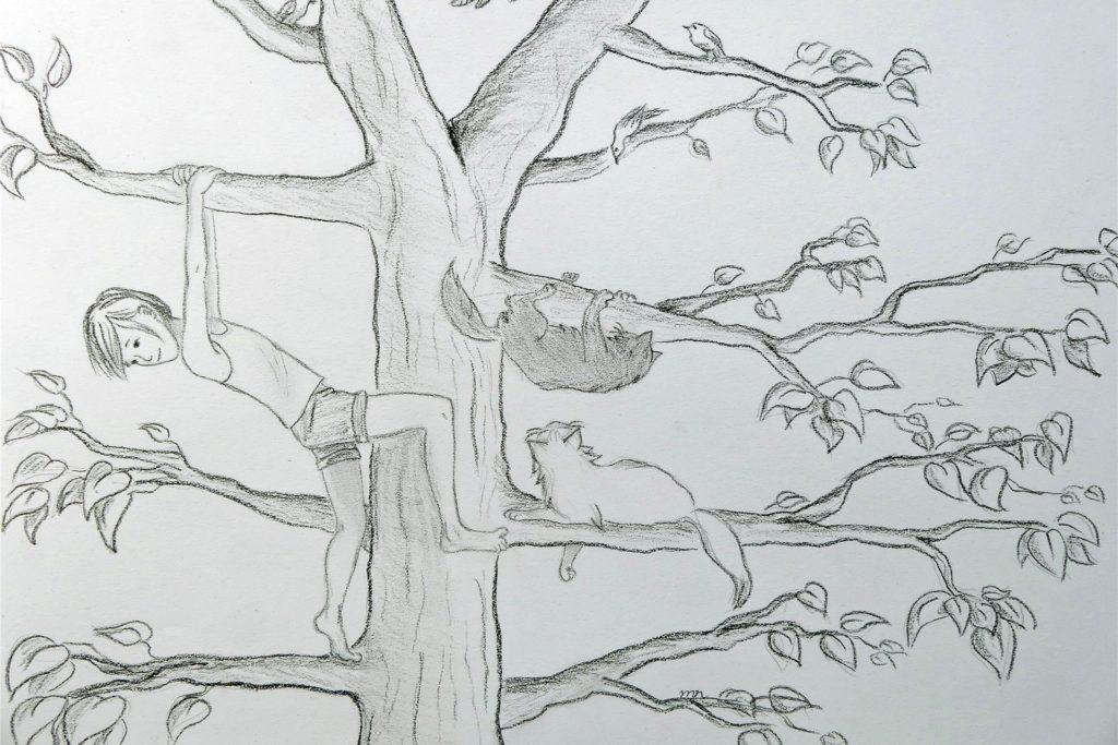 Im Baum klettern Kinder und Katzen gerne herum.