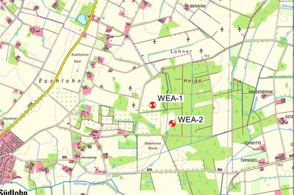 Ein Ausschnitt aus dem Lageplan, der zu den öffentlich ausgelegten Unterlagen gehört. Hier sind die Standorte der geplanten Windräder eingezeichnet.
