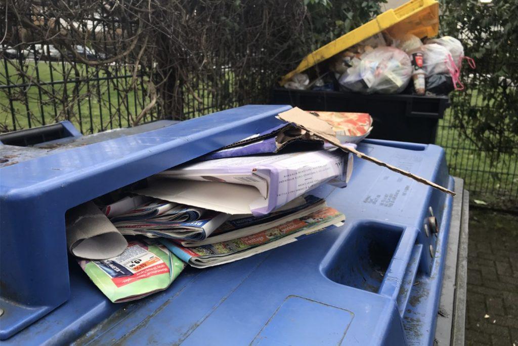 Nachbarn der Scheidemannstraße in Brackel ärgern sich über die nicht geleerten Mülltonnen.