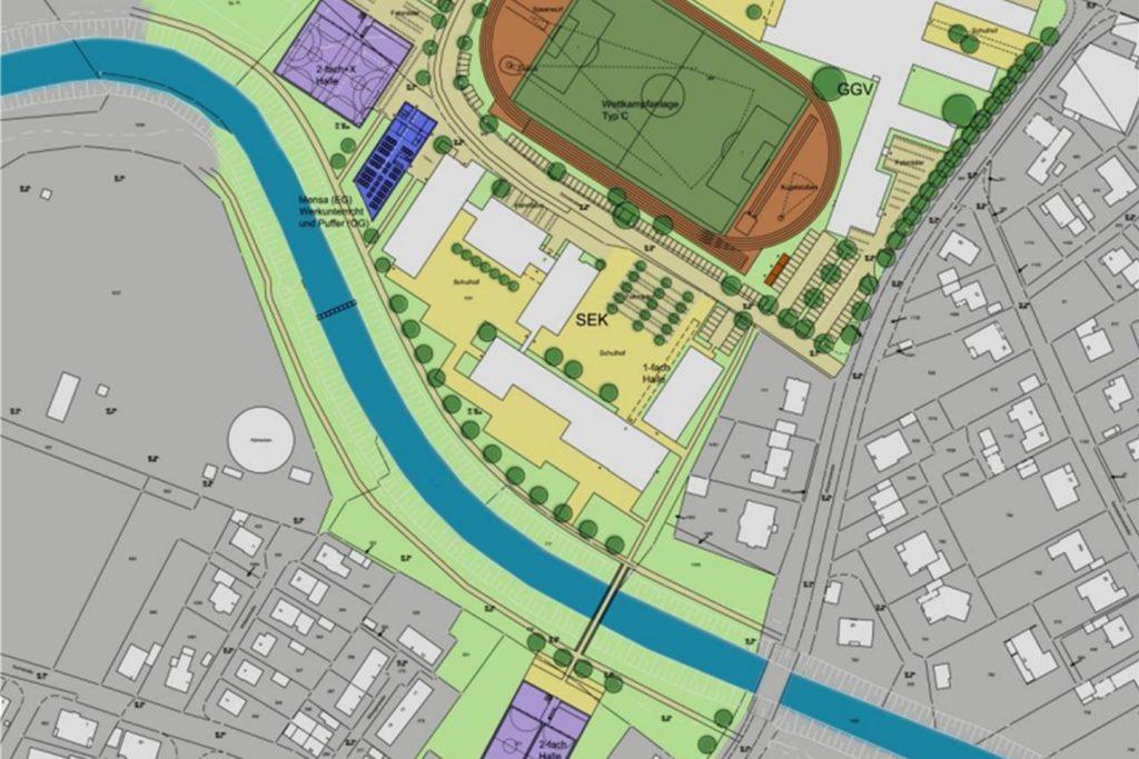 Für diese sogenannte Variante 5 hatte sich der Rat Ende 2019 ausgesprochen. In einem ersten Bauabschnitt soll dabei die kleinere Turnhalle auf der anderen Berkel-Seite entstehen.