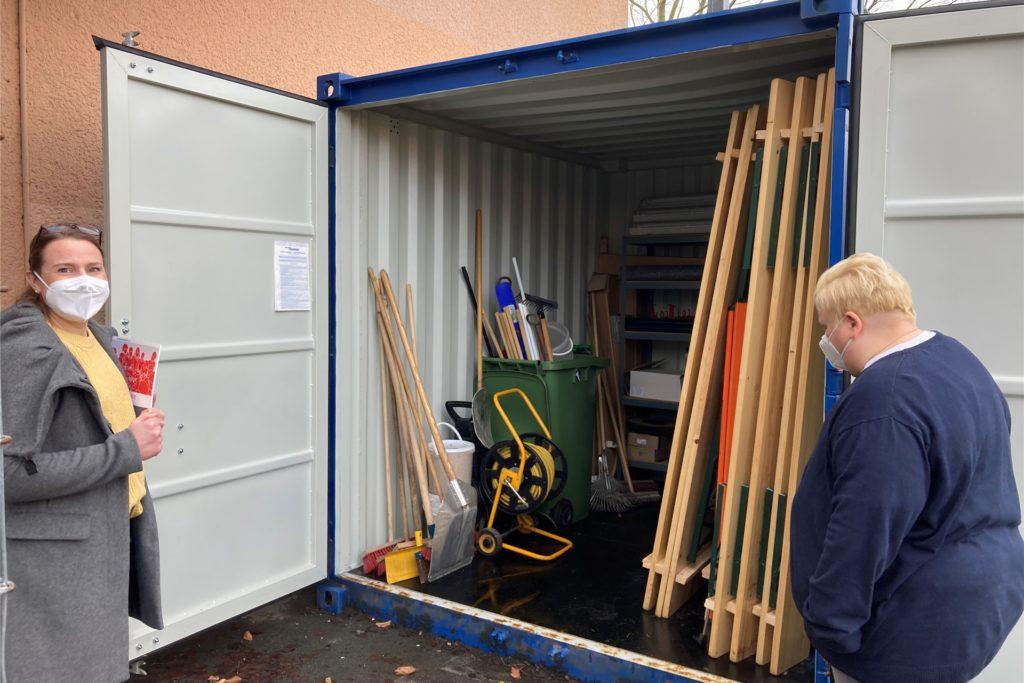 So sieht der zweite Container aus: Er wird als Keller-Ersatz genutzt.