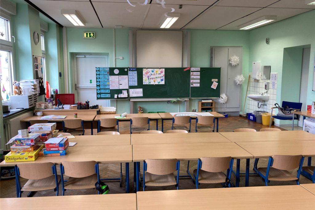 Das ist ein Klassenzimmer, das aktuell genutzt werden kann.