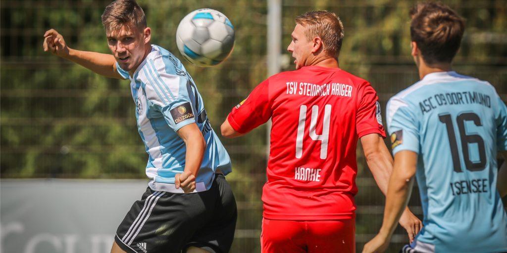 Der TSV Steinbach Haiger und der Lüner Philipp Hanke (hier im Test beim ASC 09 Dortmund) kamen am Wochenende nicht über ein Remis hinaus.