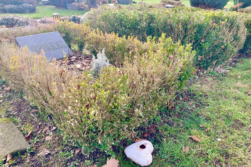 Teilweise liegt der Grabschmuck noch auf den Rasenflächen.