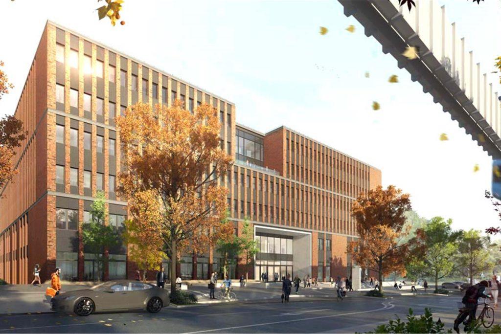 So soll das neue Gebäude aussehen, das unter anderem Büroflächen, einen großen Hörsaal sowie Seminar- und Übungsräume beherbergen soll.