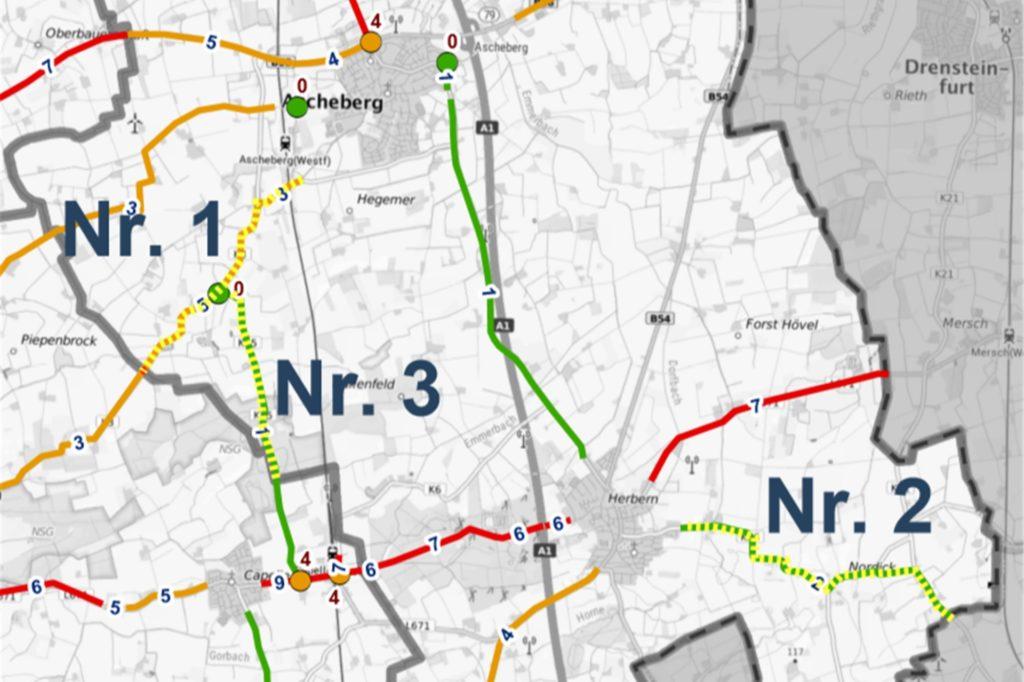 Diese drei Wege haben die höchste Priorität für das Radwegeausbauprogramm des Kreises Coesfeld.