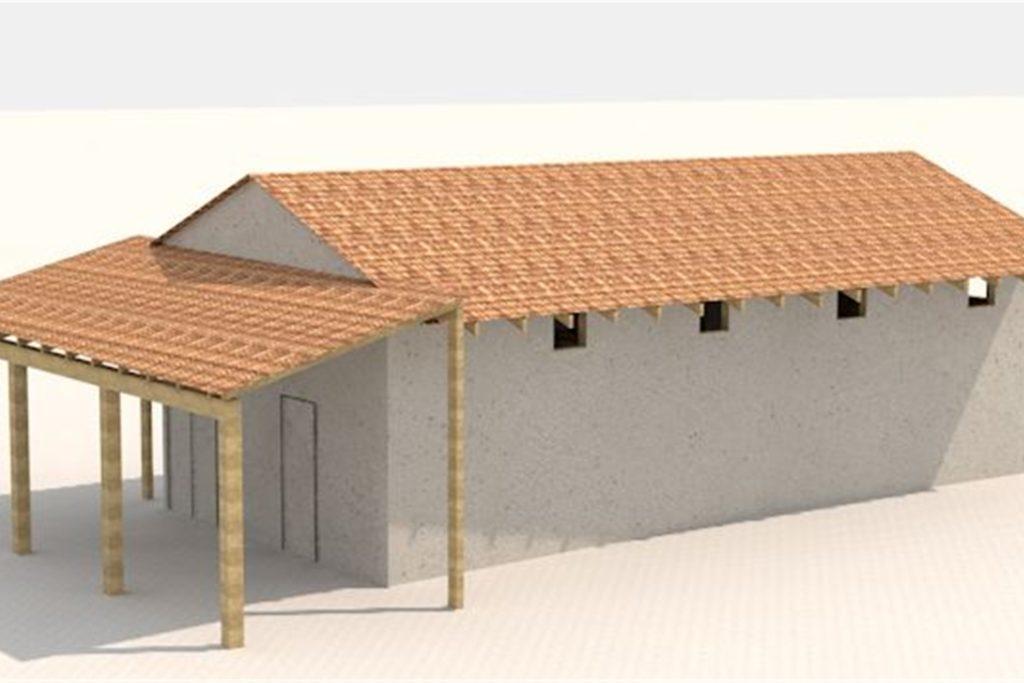Die Grafik zeigt das geplante Wachgebäude am Westtor des LWL-Römermuseums.