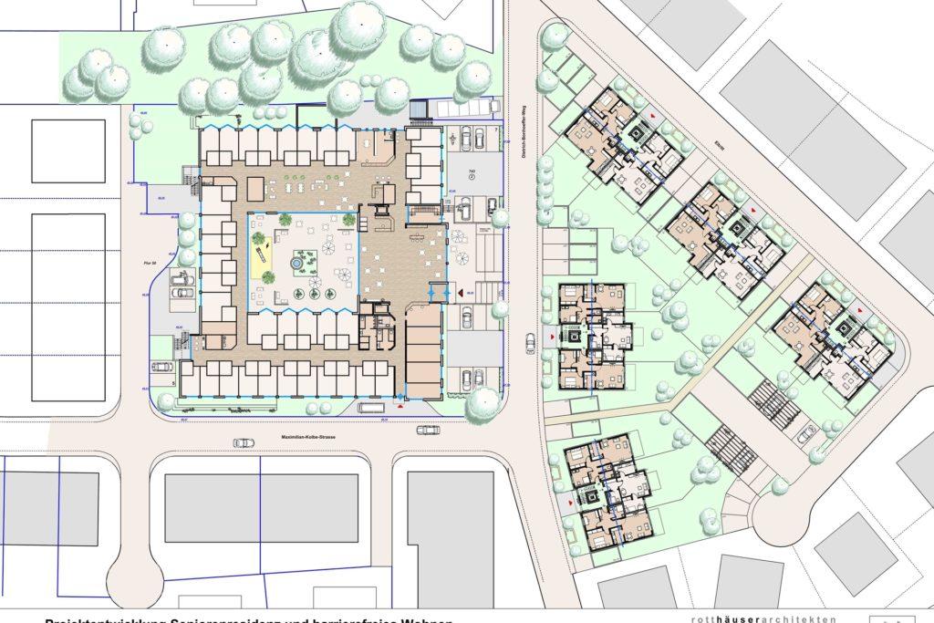 So sah die Planung 2014 aus, als die Politik über die Vergabe entschied: Das Altenheim sollte als Rechteck entstehen, um einen Umlauf für Demenzpatienten zu ermöglichen. Fünf Einzelhäuser sollten für das Betreute Wohnen entstehen.