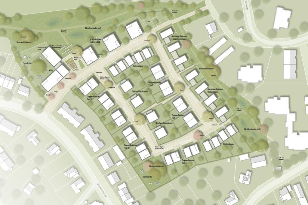 So sieht das städtebauliche Konzept der Firma Pesch Partner Architekten Stadtplaner GmbH aus.