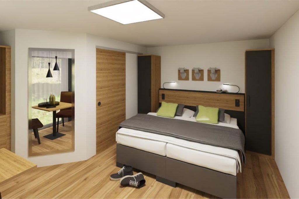 So werden die Hotelzimmer in der neuen OlfenLodge aussehen. Am 1. Mai will das neue Hotel eröffnen.