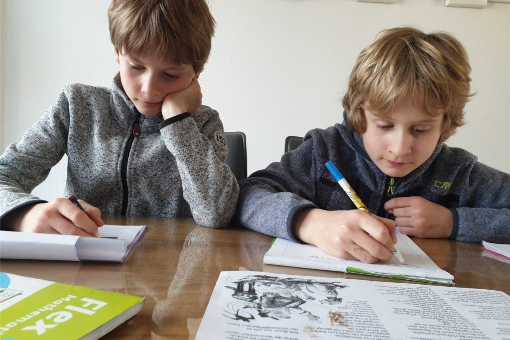 Fabio (l.) und Carlo lernen an einigen Tagen daheim. Dann arbeitet Mutter Lena Zaccheddu auch von zuhause aus. Allerdings lassen sich Homeschooling und Homeoffice nur schwer miteinander vereinbaren.