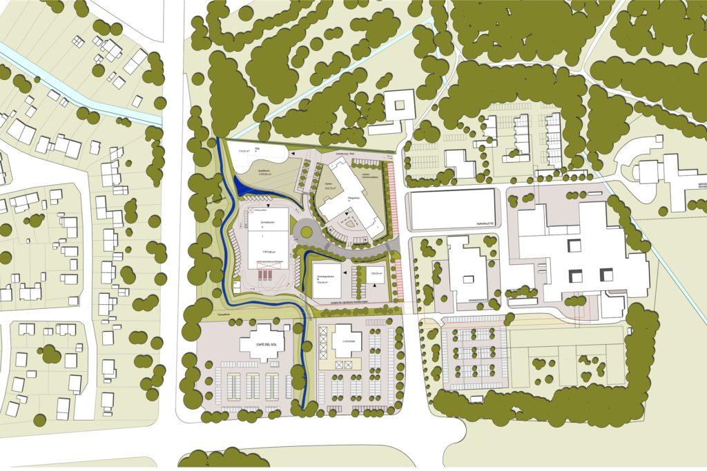 Das ist die Zeichnung des Gesundheitscampus: Rechts ist die EvK-Bebauung zu sehen, unten Café del Sol und die L'Osteria. Die geplanten Neubauten befinden sich zwischen B235 (l.) und Grutholzallee (mitten im Bild von Süd nach Nord).