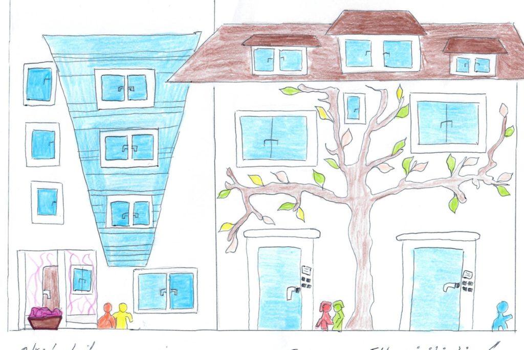 Dieses Bild, das das Elternhaus zeigt, hat Lejla während ihrer Behandlung in der Universitätsklinik in Essen gemalt.